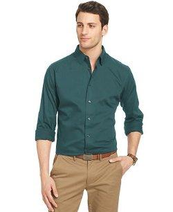 Van Heusen  - Striped Long-Sleeve Sateen Shirt