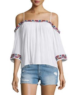 Piper  - Xico Cold-Shoulder Embroidered Top