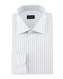 Ermenegildo Zegna  - Track-Stripe Woven Dress Shirt