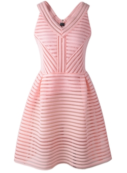 Shein - V Neck Sleeveless Hollow Striped Dress