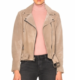 The Perfext - London Belted Suede Moto Jacket