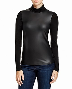 Aqua - Faux Leather Front Jersey Top