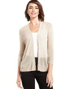 Charter Club  - Three-Quarter-Sleeve Open-Front Cardigan