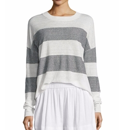 Vince - Multi-Stripe Linen Pullover Sweater