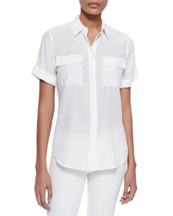 Equipment - Short-Sleeve Slim Signature Silk Blouse