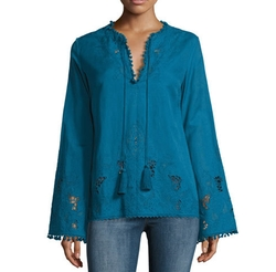 Talitha Collection - Sana Embroidered Pompom Tunic Top