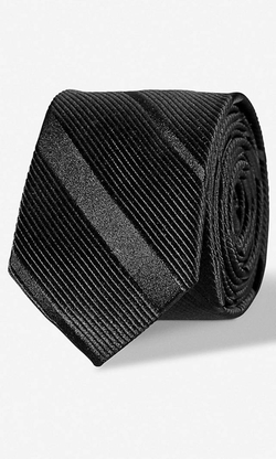 Express - Slim Textured Diagonal Stripe Silk Tie