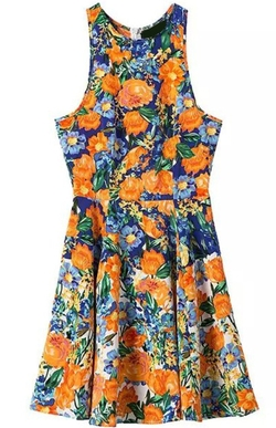 Romwe - Round Neck Florals Pleated Dress