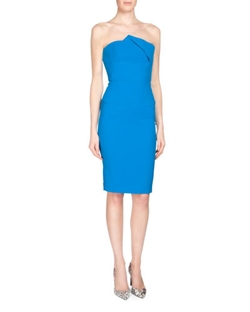 Roland Mouret	  - Esther Strapless Pleated Sheath Dress