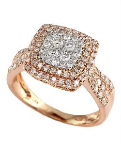 Effy  - Pave Rose 14kt White Rose Gold Diamond Ring