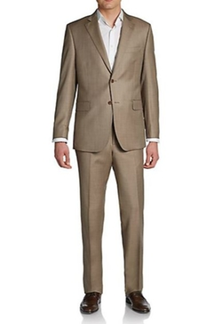 Saks Fifth Avenue Black - Sharkskin Wool Two-Button Suit