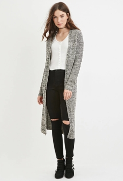 Forever 21 - Marled Open-Front Longline Cardigan Sweater
