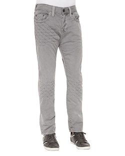 True Religion   - Dean Gray Geo-Quilted Patch Jeans