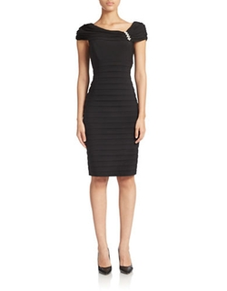 XSCAPE  - Shutter Pleat Sheath Dress