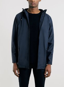 Topman - Rains Blue Long Zip Jacket