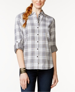 G.H. Bass & Co.  - Long-Sleeve Button-Front Plaid Top