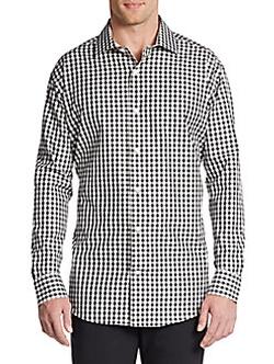 Saks Fifth Avenue BLACK  - Slim-Fit Gingham Check Cotton Sportshirt