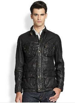 Cole Haan - Washed Leather Moto Jacket