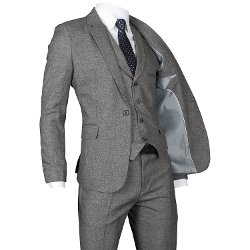 Ywwh - One Button Solid Slim Fit Vested Suit
