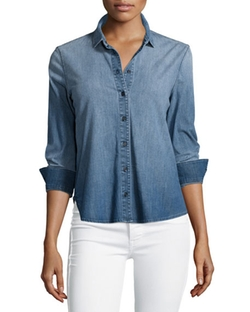 J Brand Jeans  - Azni Button-Front Chambray Shirt