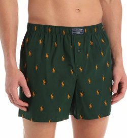 Polo Ralph Lauren  - Printed Polo Player Cotton Woven Boxer Shorts