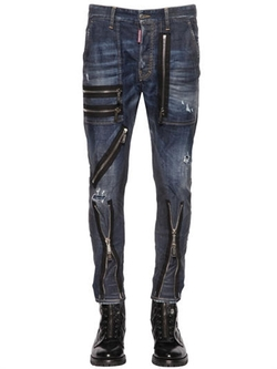 Dsquared2  -  Zip Details Stretch Denim Jeans