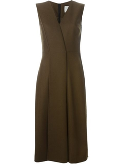 Jason Wu - Pleated Front V-Neck Flared Dress