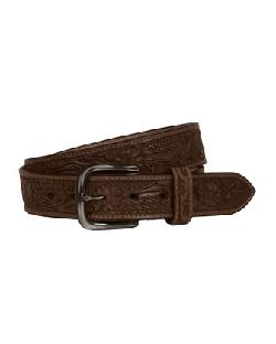 Will Leathergoods  - Floral Embossed Belt, Brown