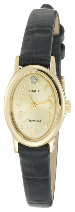 Timex - Diamond Accent Black Leather Strap Watch