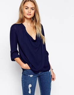 Asos - Detail Front And Drape Neck Top