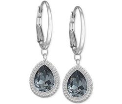 Swarovski  - Silver-Tone Crystal Teardrop Leverback Earrings