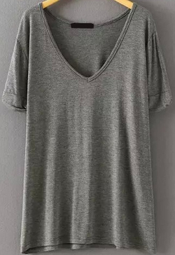 Romwe - V Neck Loose T-Shirt