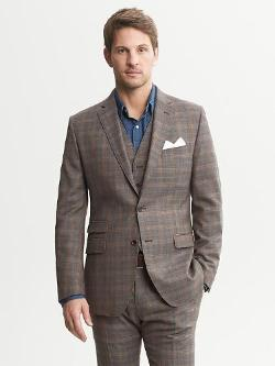 Banana Republic  - Heritage Brown Plaid Wool Suit Jacket