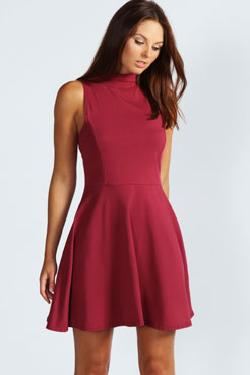 Boohoo - Jess High Neck Sleeveless Skater Dress