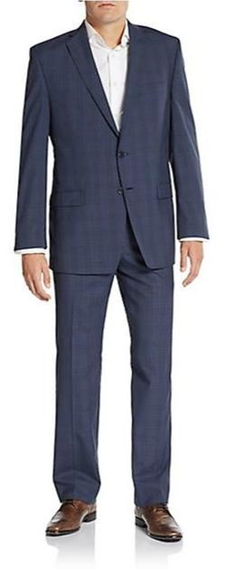 Calvin Klein  - Slim-Fit Plaid Wool Suit