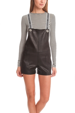 American Retro - Stephanie Leather Short Overalls