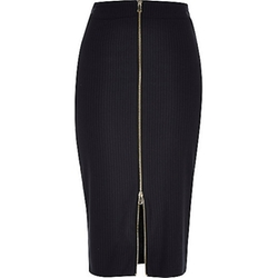 River Island - Navy Pin Stripe Zip Front Pencil Skirt