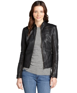 RD Style - Faux Leather Zip Front Motorcycle Jacket