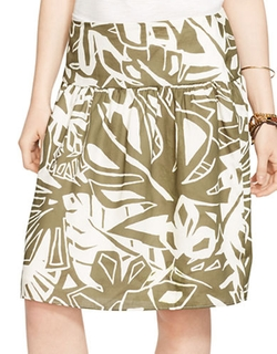 Lauren Ralph Lauren  - Tropical-Print Fit-and-Flare Skirt