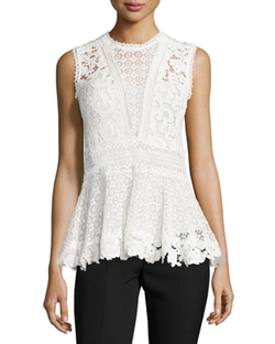Rebecca Taylor - Mixed-Lace Peplum Top