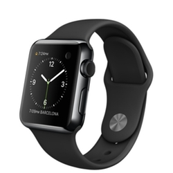Apple - Stainless Steel Case With Black Sport Band Watch