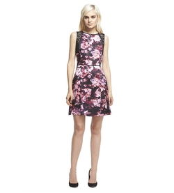 Robert Rodriguez - Lace Trim Floral Bloom Print Dress