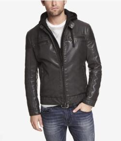 Express - Ribbed Leather Hooded System Jacket