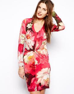 Ted Baker  - Body-Conscious Dress in Bright Floral Print