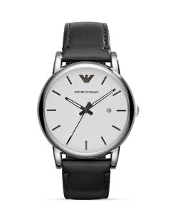 Emporio Armani - Luigi Leather Strap Watch