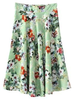 Choies - Green Floral Zipper Side Skirt