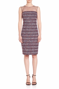 Teri Jon by Rickie Freeman - Tweed Illusion Sheath Dress