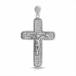 Bling Jewelry  - Pave CZ Jesus Crucifix Mens Cross Pendant