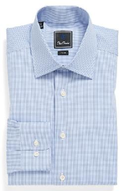 David Donahue  - Poplin Check Trim Fit Dress Shirt