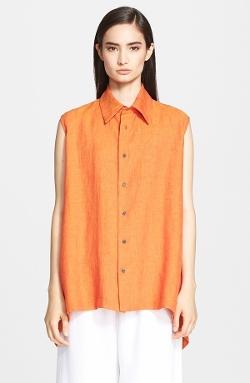 Eskandar - Sleeveless Mélange Linen Shirt